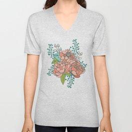 Moody Florals in Teal Unisex V-Neck