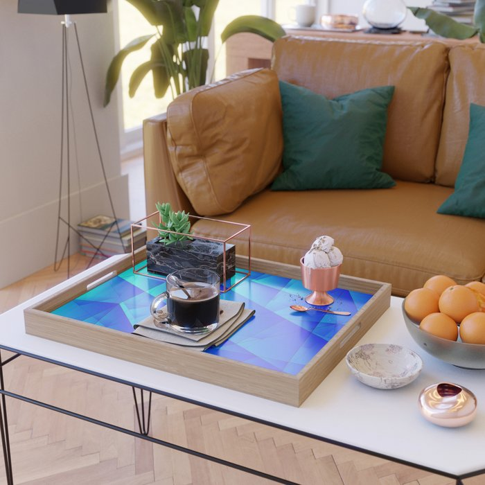 Bright sea pattern of heavenly and blue triangles and irregularly shaped lines. Serving Tray