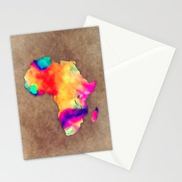 Africa map color brown Stationery Cards
