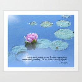 Serenity Prayer Pink Water Lily Art Print