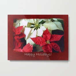 Mixed Color Poinsettias 2 Happy Holidays P5F5 Metal Print