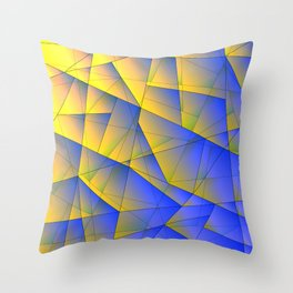 Bright fragments of crystals on irregularly shaped yellow and blue triangles. Throw Pillow