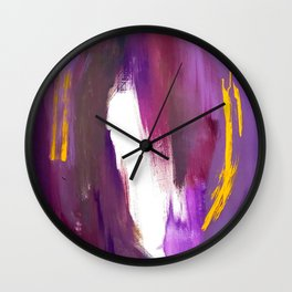 Royalty: a bold, colorful abstract piece in vibrant purples and yellow Wall Clock