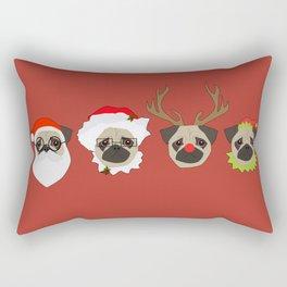 Christmas Pugs Red Rectangular Pillow