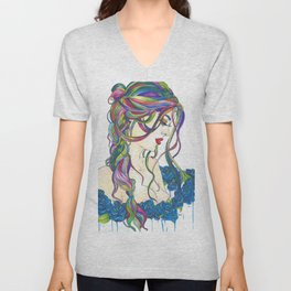 Rainbow Love and Blue Roses Unisex V-Neck