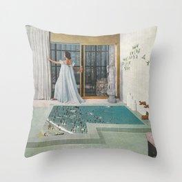 Powder Room Beach Throw Pillow