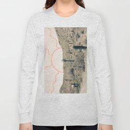 Wonder Rift // Abstract Vintage Mountains Summer Sun Surfer Beach Vibes Drawing Happy Wall Decor Long Sleeve T-shirt
