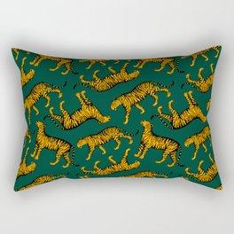 Tigers (Dark Green and Marigold) Rectangular Pillow