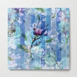 Blue & White Flowers Collage On Blue Wood Metal Print