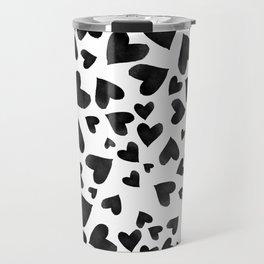 Modern black watercolor love hearts simple pattern Travel Mug