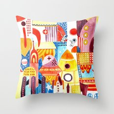 City in Space Throw Pillow