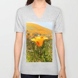 California Poppy Unisex V-Neck