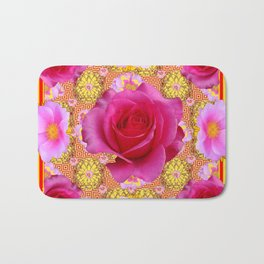 Fuchsia Pink Rose Patterns Sunflower YellowFloral  Art Bath Mat