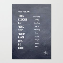 Lab No. 4 - Fill in the blanks.. Exercise timetable schedule Inspirational Quotes Poster Canvas Print