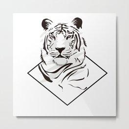 Cool White Tiger Illustration Metal Print
