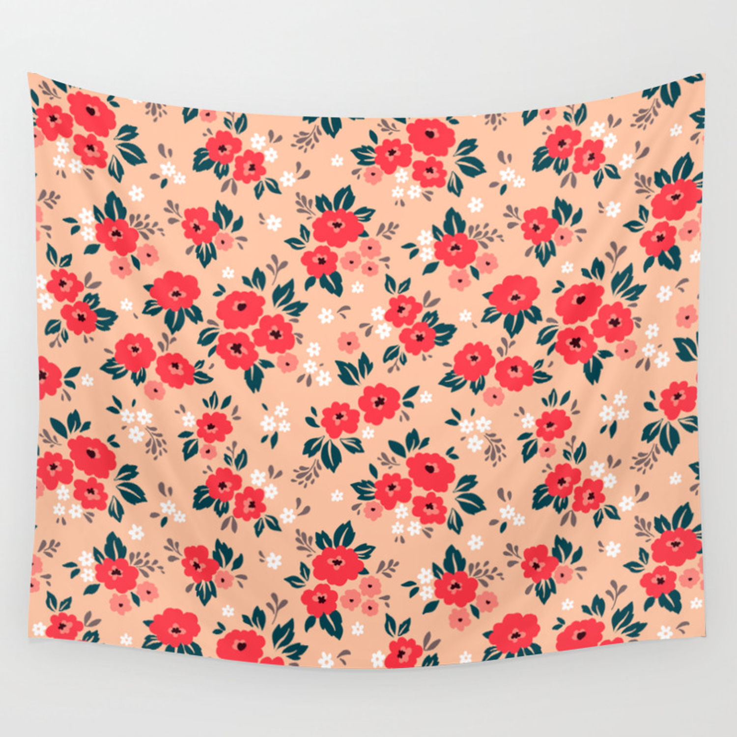 06 Ditsy Floral Pattern Peache Background Red And White Flowers
