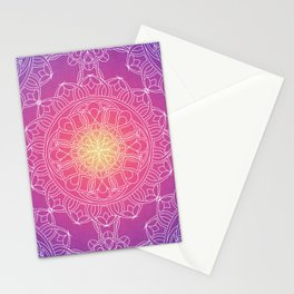 White Lace Mandala in Purple, Pink, and Yellow Stationery Cards