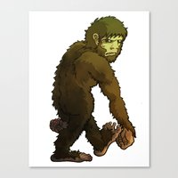 bigfoot Canvas Prints featuring Bigfoot by JoJo Seames
