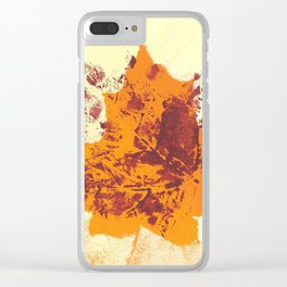 Fall Leaf Print Clear iPhone Case