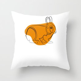 Rabbit - One Line Drawing Throw Pillow
