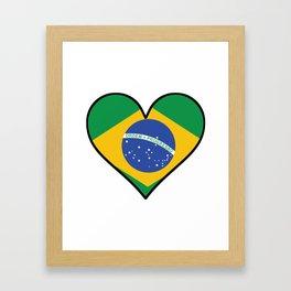 Brazilian Flag Heart Framed Art Print