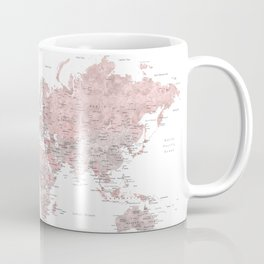 Explore - Dusty pink and grey watercolor world map, detailed Coffee Mug
