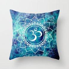 Galaxy Om Mandala Aqua Midnight Blue Throw Pillow