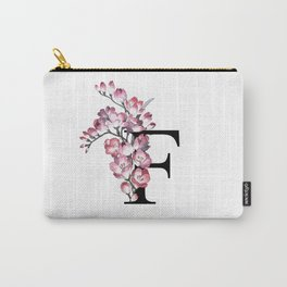 Letter 'F' Freesia Flower Typography Carry-All Pouch