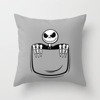 jack skellington Throw Pillows featuring Jack Skellington pocket by Buby87