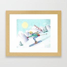 Skiing Girl Gerahmter Kunstdruck