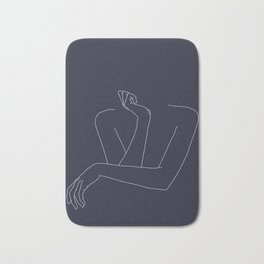 Woman's crossed arms line drawing - Anna Blue Bath Mat