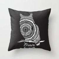 be brave Throw Pillows featuring brave by Vickn