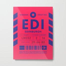 Baggage Tag D - EDI Edinburgh Scotland Metal Print