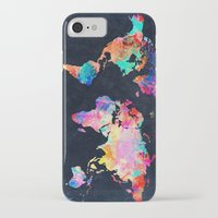 map iPhone & iPod Cases featuring World map by Bekim ART