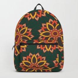 'Autumn Transition' Fall Autumn Flowers On Dark Green Backpack