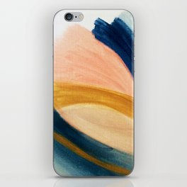 Slow as the Mississippi - Acrylic abstract with pink, blue, and brown iPhone Skin