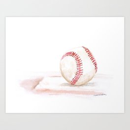 Baseball Watercolor Art Print