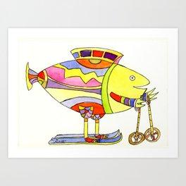 Fisch auf Schie Art Print