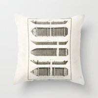 boats Throw Pillows featuring Boats by Le petit Archiviste