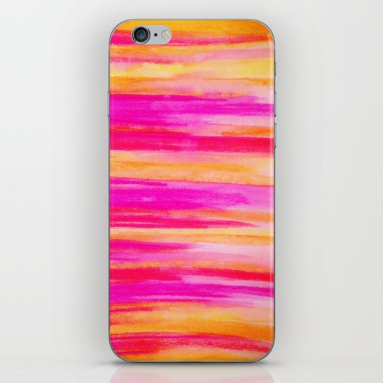 Welcome to Funky Town - Disco Inferno Dance Party Bold Rainbow Stripes Abstract Watercolor Painting iPhone & iPod Skin