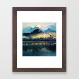 Mountain Lake Under Sunrise Framed Art Print