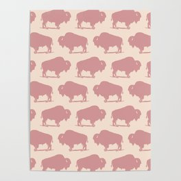 Buffalo Bison Pattern Dusty Rose Poster