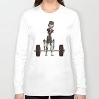 crossfit Long Sleeve T-shirts featuring Crossfit Zombie by RonkyTonk doing Deadlift by RonkyTonk