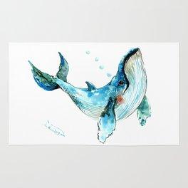 Humpback Whale Artwork Children Illustration Cute little Whale, whale design Rug