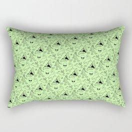 Cryptid Pattern: Black on Green Rectangular Pillow