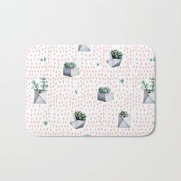 Potted Succulents Pink Polka Dots Bath Mat