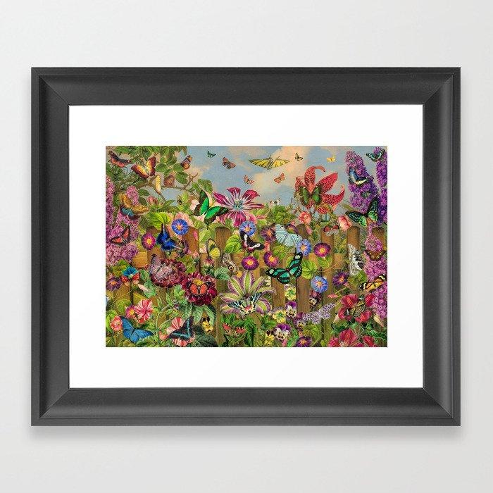 Butterfly Garden Gerahmter Kunstdruck