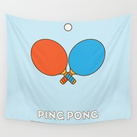 sport Wall Tapestries featuring I am the sport! part1 ping pong  by Totally Wrong