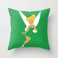 tinker bell Throw Pillows featuring Tinker Bell by Adrian Mentus