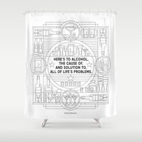 alcohol Shower Curtains featuring Here's to alcohol... by Mark Gonyea